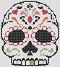 Sugar skull cross stitch