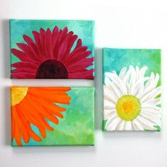 Floral Painting for Home or Office 3 Bright Daisies Set of 3 5x7 acrylic canvas paintings whimsical wall decor by nJoy Art via Etsy