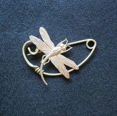 Dragonfly brooch pin Shawlpin Shawl pin. $22.50, via Etsy.