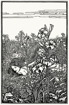 Abashed, amid the lilies. William Heath Robinson, from The poems of Edgar Allan Poe, London, New York, 1900.