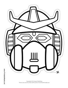 The blank robot mask has grate ears, a samurai helmet, and angular eyes. Color in this mask for your next robot battle. Free to download and print