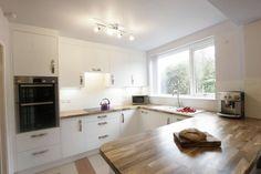 Sheffield Sustainable Kitchens - solid walnut kitchen worktop and breakfast bar Kitchen Worktop, Kitchen Cabinets, Walnut Kitchen, Bespoke Kitchens, Diners, White Cabinets, Sheffield, Sustainability, Kitchen Ideas