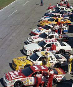 Front to Rear: Terry Labonte, Geoff Bodine, Rick Mast, Davey Allison, Alan Kulwicki, Rick Wilson, Morgan Shepherd, Mark Martin, Rusty Wallace, and Bill Elliott. 1989