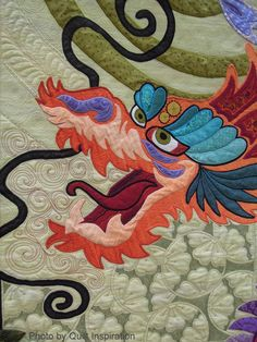 close up, The Quilt with the Dragon Tattoo by Nancy Arsenault.  2014 TQG, photo by Quilt Inspiration