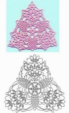 y CROCHET-madona-mía: Gráficos de triangulo a crochet. A pretty triangle motif!TRICO y CROCHET-madona-mía: Gráficos de triangulo a crochet. A pretty triangle motif! Crochet Diy, Art Au Crochet, Filet Crochet, Crochet Bunting, Mode Crochet, Crochet Blocks, Crochet Diagram, Irish Crochet, Crochet Crafts