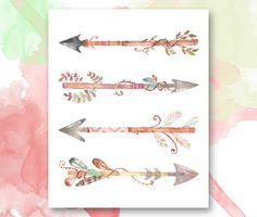 Boho Nursery Art PRINTABLE, Watercolor Arrows Print, Girl's Room Arrow Illustration, Pretty Plus Paper