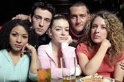Two Pints Of Lager And A Packet Of Crisps. Image shows from L to R: Louise (Kathryn Drysdale), Jonny (Ralf Little), Janet (Sheridan Smith), Gaz (Will Mellor), Donna (Natalie Casey). Image credit: British Broadcasting Corporation.
