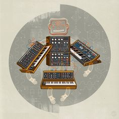 Moog Synth Robo-Man - Velcro Suit - The Graphic Design and Illustration of Adam Hill