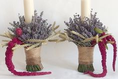 yau concept _Lumanari de nunta scurte cu lavanda Baptism Candle, Flower Fairies, Grapevine Wreath, Plant Hanger, Grape Vines, Christening, Nasa, Flower Arrangements, Christmas Wreaths