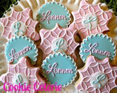 Shabby Chic Rose Cookies Decorated Cookie Favors by CookieCoterie