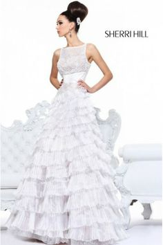 Sherri Hill 2985 Tiered A Line Skirt White Prom Dress
