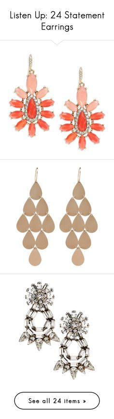 """""""Listen Up: 24 Statement Earrings"""" by polyvore-editorial ❤ liked on Polyvore featuring StatementEarrings, jewelry, earrings, coral, ombre earrings, peach jewelry, peach earrings, coral earrings, abs by allen schwartz and accessories"""