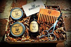 Beard Grooming Kit  Oil Wax Balm Wood comb by BeardedBearProducts