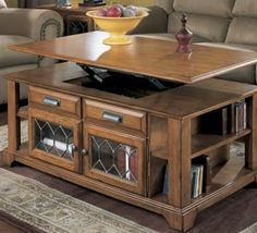 Convenience from Lift Top Coffee Tables : Lift Top Coffee Table With Shelves. Coffee Table With Shelf, Solid Wood Coffee Table, Lift Top Coffee Table, Diy Coffee Table, Diy Table, Living Room Furniture, Home Furniture, Furniture Ideas, Small Sitting Rooms