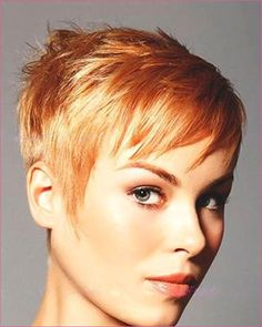 I love this bright honey strawberry blonde and it looks fresh and lovely on this pixie haircut. Face hugging sides with longer strands layered on top for Cool Short Hairstyles, Undercut Hairstyles, Little Girl Hairstyles, Pixie Hairstyles, Pixie Haircut, Men Undercut, Men's Hairstyle, Formal Hairstyles, Haircuts