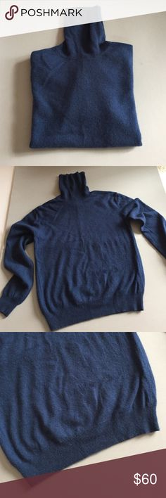 """Sutton Studio Blue Cashmere Sweater From Bloomingdales. Excellent condition. 100% cashmere. Very soft. Long sleeve turtleneck. Darker shade of blue. Banded sleeves and bottom edge. Dry clean or hand wash only. 17"""" armpit to armpit. 14"""" long from armpit. Not from a smoke free house. Sutton Studio (Bloomingdales) Sweaters Cowl & Turtlenecks"""