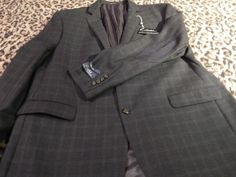 Ralph Lauren WOOL Blue Black Plaid Jacket Blazer Sport Coat Elbow Patches 50R 50 #RalphLauren #TwoButton