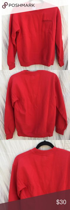 VINTAGE RED APPLE FARM CREW NECK JACKET Size small. Red color. Crewneck pullover jacket. Apple Farm San Luis Obispo, CA embroidered in red. Good condition lightly worn overall no noticeable flaws. Tagged for views, similar style. FREE SURPRISE GIFT WITH EVERY ORDER! Brandy Melville Sweaters Crew & Scoop Necks