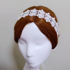 White floral crown, Lace bridal hairpiece, Rhinestone headpiece, Wedding head piece, Flower headband, Beaded headdress, Jewel hair piece