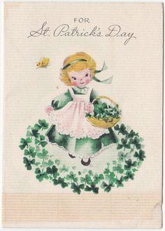 Vintage Greeting Card St Patrick's Day Shamrocks Girl Gibson Gal 1940s A053   eBay