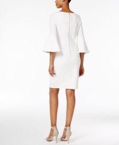 Calvin Klein Bell-Sleeve Sheath Dress $134.00 Voluminous bell sleeves balance the sleek fit of a Calvin Klein sheath dress while adding a trend-right touch.