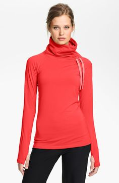 Red Pro Hyperwarm Hybrid Dri Fit Training Top - Love the high neck!! Available at Sport Check