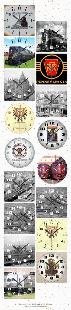 "PENNSYLVANIA RAILROAD CLOCK COLLECTION ! *************** It's time to show off your favorite art, photos, and text with a customwall clock from Zazzle. Made for any wall, this clock is vibrantly printed with AcryliPrint®HD process to ensure the highest quality display of any content. Order A customwall clock for your home or give to friends and family as a gift for a timeless treasure.Size 10.75"" x 10.75"".Material: Grade-A acrylic.One AA battery required (not included)…"