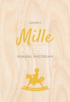 Geboortekaartje Mille is een stoer geboortekaartje op een hout look achtergrond met een hobbelpaard. Origineel voor meisjes maar ook voor jongens!