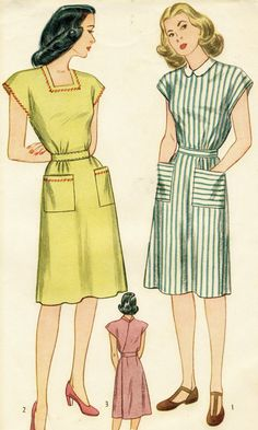 Vintage 1940s Simplicity 1543 Misses House Dress Back-Wrap Sewing Pattern Size 14 - Factory Folded. $12.00, via Etsy.