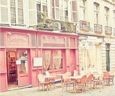 amazing soft pink cafe. France?