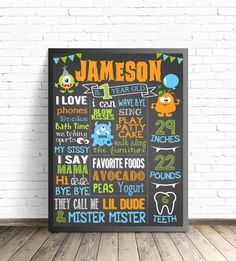 Little Monster First Birthday Chalkboard Sign. Monster Party Decorations. Printable Boy or Girl Birthday Poster. by ParkAndMaddy on Etsy https://www.etsy.com/listing/249949231/little-monster-first-birthday-chalkboard