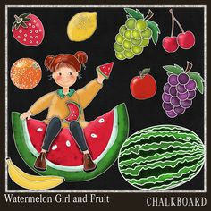 Chalkboard Clipart Watermelon and fruit Girl Chalk Drawing-Card Design,- Spend 20 dollers use code TAKE50OFF Get half Price by DigitalPaperCraft on Etsy