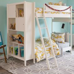 The new Library Bunk Bed by DwellStudio features a built-in bookcase. | ella+elliot | Toronto | Vancouver | Canada | #ellaandelliot #bunkbed #dwellstudio #kidsrooms | pic via @ellaandelliot Instagram