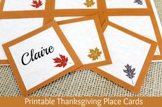 Gorgeous {and Free} Printable Thanksgiving Place Cards at ALittleClaireification.com @ crafts #Thanksgiving #DIY