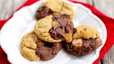 Chocolate Peanut Butter Caramel Swirl Cookies