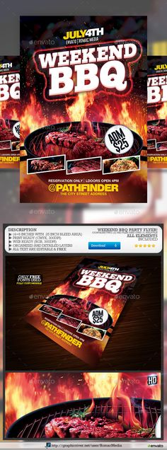 Weekend Barbecue BBQ Party Flyer Template PSD