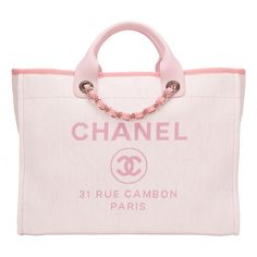 Pre-Owned Chanel Pink Canvas Large Deauville Shopping Tote ($4,830) ❤ liked on Polyvore featuring bags, handbags, tote bags, chanel, pink, colorful tote bags, tote handbags, chanel handbags, logo tote bags and pink canvas tote bag