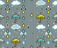 I love a rainy day! fabric by cynthiafrenette on Spoonflower - custom fabric