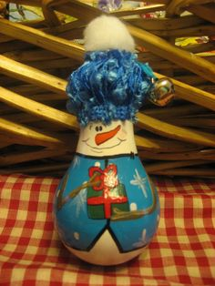 Hand Painted Christmas Snowman  Lightbulb Light by ImagineOutLoud, $14.95