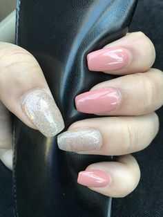 "Currently loving ""tapered square"" nails Or ""barely coffin"" as I call it Simple with Gold glitter / Peachy nude"