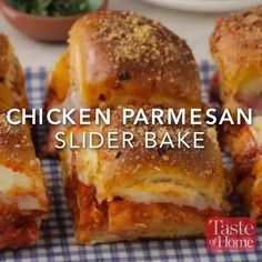 Chicken Parmesan Slider Bake Recipe Sliders are the perfect finger food for any get-together, and this flavorful chicken Parmesan version won't disappoint. —Nick Iverson, Denver, Colorado Appetizer Recipes, Dinner Recipes, Brunch Recipes, Freezable Appetizers, Easy Recipes, Freezable Meals, Meat Appetizers, Fun Sandwich Recipes, Quick Meals