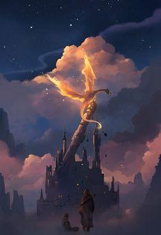 Digital art illustration Digital Painting by Niken Anindita Arte Digital Fantasy, Digital Art Girl, Fantasy Kunst, Magical Creatures, Fantasy Creatures, Digital Art Illustration, Dragon Artwork, Fantasy Dragon, Fantasy Landscape