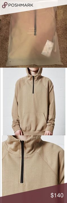 51ff5608 Fear of God (FOG) Essentials Half Zip pullover Tan and size medium PacSun  Other