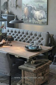 sofa for at the dining table by Hoffz Interieur - Carina van der Mark - . Dining Table, Rustic House, Decor, House Interior, Home, Interior, Rustic Living Room, Rustic Apartment, Home Decor
