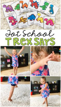 Learning is more fun when it involves movement! Practice all kinds of movement and listening skills with this T-Rex says gross motor activity. Great for tot school, preschool, or even kindergarten! Dinosaur Theme Preschool, Dinosaur Activities, Gross Motor Activities, Preschool Activities, Vocabulary Activities, Preschool Printables, Therapy Activities, Kindergarten Songs, Preschool Lessons