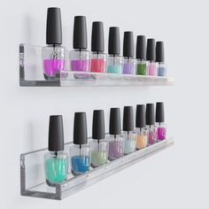 Invisible Floating Wall Shelf Clear Acrylic Photo Ledge Display Bookshelf Nail Polish Rack 17 Inch Set of 2