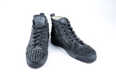 Christian Louboutin Black Suede Shiny Black Spike Hi-Top