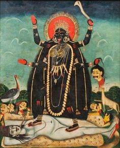 Bengali oil painting of Kali standing on (an interestingly sexless) Shiva. Love that look of pure contentment and adoration, lying beneath Her lotus feet.