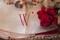 60 white burlap Christmas tree skirt with red by TheBurlapCottage, $85.00