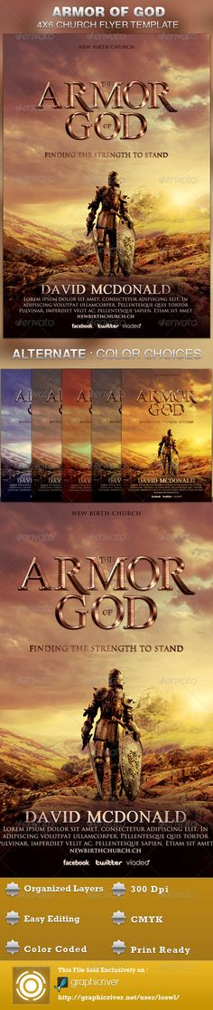 Buy Armor of God Church Flyer Template by loswl on GraphicRiver. Armor of God Church Flyer Template is great for any Church Event. Use it for Ministries, Pageants and Sermons, etc. Flyer Design Templates, Print Templates, Flyer Template, Psd Templates, Movie Poster Template, Gospel Concert, Shield Of Faith, Concert Flyer, Marketing Flyers